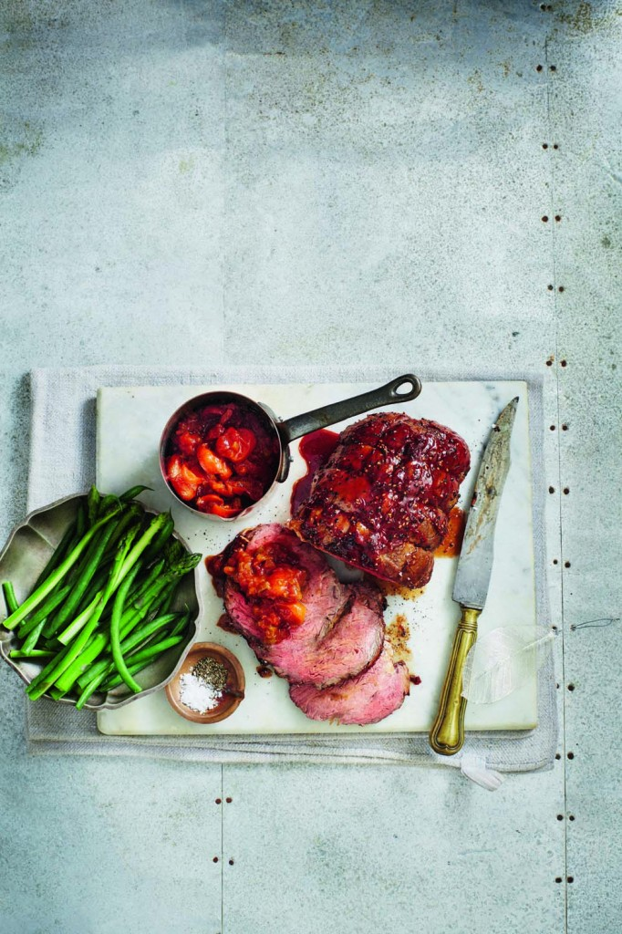 Barbecued beef with summer tomato sauce recipe